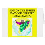 got created drag racing greeting card