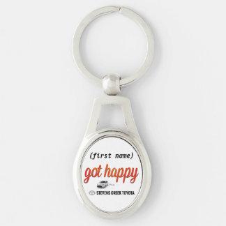 Got Happy Keytag Silver-Colored Oval Key Ring