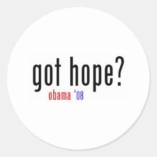 got hope? obama 08 classic round sticker