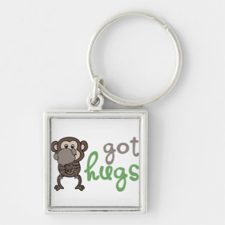 Got hugs Silver-Colored square key ring