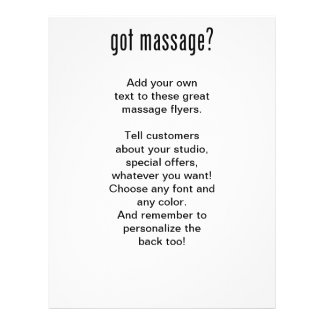 Got Massage? In Black Ink Personalized Flyer