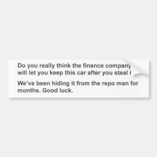 Got No Money Guide Anti-Theft Bumper Sticker