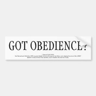GOT OBEDIENCE? CAR BUMPER STICKER
