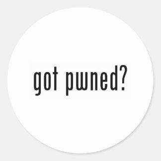 got pwned? classic round sticker