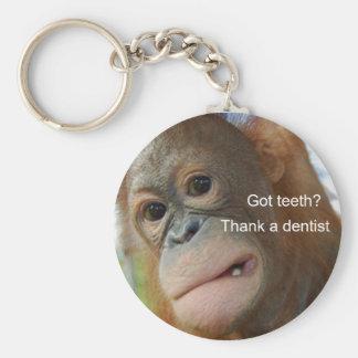 Got teeth? Thank a dentist Basic Round Button Key Ring