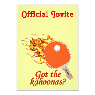 Got The Kahoonas Flaming Ping Pong 13 Cm X 18 Cm Invitation Card