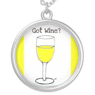 GOT WINE PRINT by jill Round Pendant Necklace