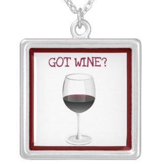 GOT WINE? RED WINE GLASS PRINT SQUARE PENDANT NECKLACE