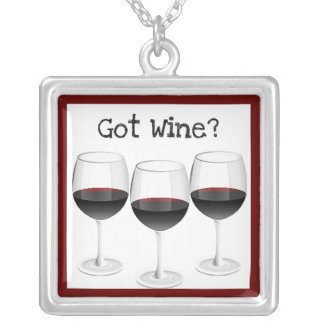 """GOT WINE?"" RED WINE GLASSES PRINT SQUARE PENDANT NECKLACE"