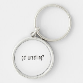 got wrestling? Silver-Colored round key ring