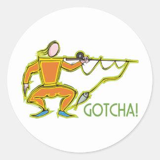 Gotcha! - Humorous Fencing / Fishing Design Round Stickers