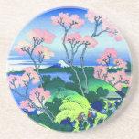 Goten-Yama Hill Cherry Blossom Fine Art Sandstone Coaster