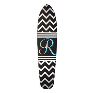 Goth Black White Zigzag Chevron Monogram 18.1 Cm Old School Skateboard Deck