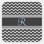 Goth Black White Zigzag Chevron Monogram New Square Sticker