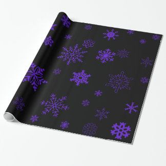 Goth Black Wrapping Paper with Purple Snowflakes