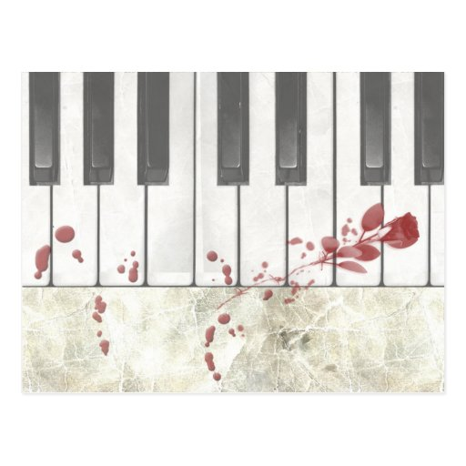 Goth Bloodstained Piano Keys Postcard