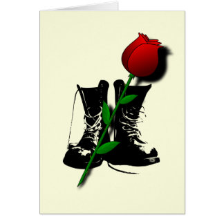 Goth Boots, Lover's Rose blank notelet Card