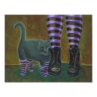 """Goth cat art boots striped socks fun painting 4.25"""" x 5.5"""" invitation card"""