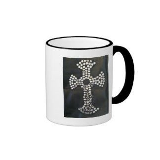 GOTH CRYSTAL CROSS ON BLACK PRINT MUG