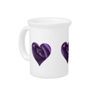 Goth Dark Purple Rose Heart Drink Pitchers