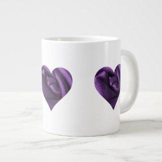 Goth Dark Purple Rose Heart Large Coffee Mug