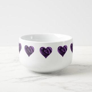 Goth Dark Purple Rose Heart Soup Mug