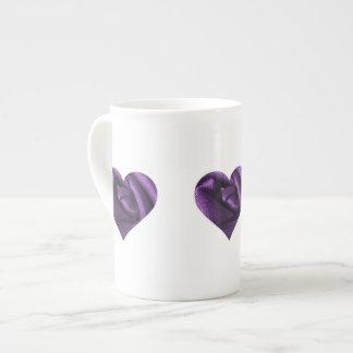 Goth Dark Purple Rose Heart Tea Cup