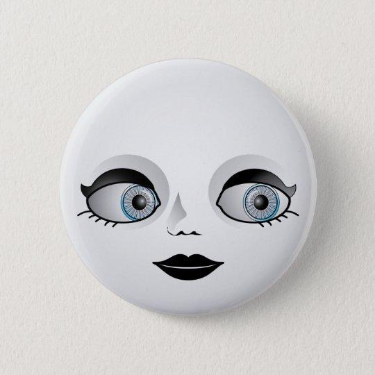 Goth Doll Face 6 Cm Round Badge