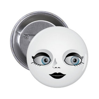 Goth Doll Face 6 Cm Round Badge