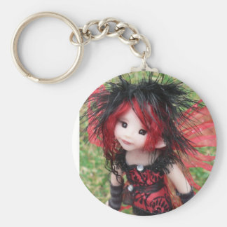 Goth Faery In Red & Black Basic Round Button Key Ring