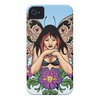 Goth Fairy with Flowers, Butterfly Wings by Al Rio iPhone 4 Cases