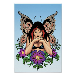 Goth Fairy with Flowers, Butterfly Wings by Al Rio Poster