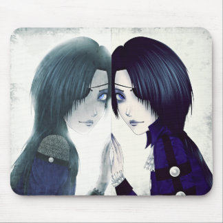 Goth ghost twin mouse pad