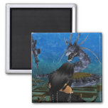 Goth Girl And Dragon Magnet Magnets