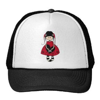 Goth Girl in Red Dress Hat