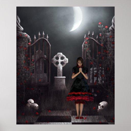 Goth girl in spooky moonlit graveyard poster