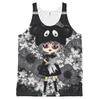 Goth Girl Tee - sad gothic lolita child with bear All-Over Print Tank Top