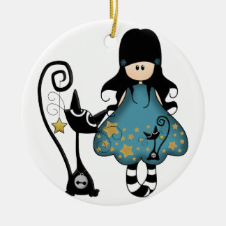 Goth Girl with Cat Christmas Ornament