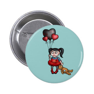 Goth Girl with Dark Heart Balloons 6 Cm Round Badge