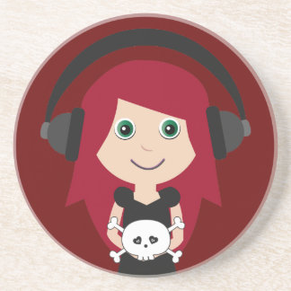 Goth Girl With Headphones & Skull Coaster