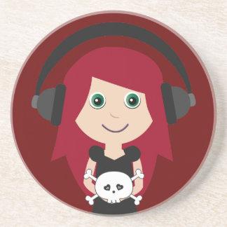 Goth Girl With Headphones & Skull Coaster