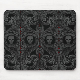 Goth Gray Ornament with Skull Mouse Mat