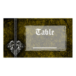 Goth Green Damask Silver Heart Reception Business Card Template