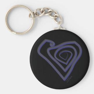 Goth Heart Keychain. Basic Round Button Key Ring