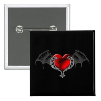 Goth Heart with Bat Wings Button