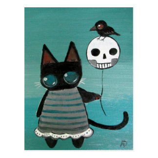Goth Kitty Cat Whimsical Outsider Storybook Art Postcard