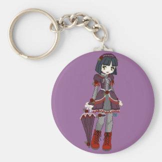 Goth Lolita Girl Basic Round Button Key Ring