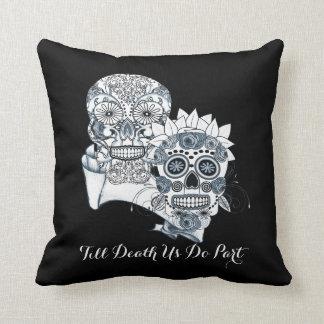 Goth Mr and Mrs Sugar Skulls Till Death Us Do Part Cushion