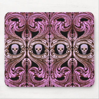 Goth Pink Ornament with Skull Mouse Mat