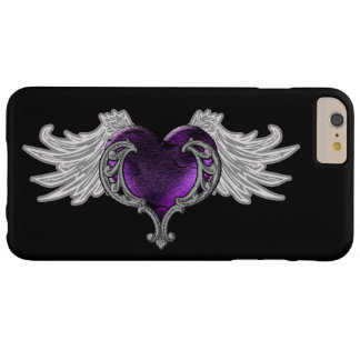 Goth Purple Heart with Angel Wings Barely There iPhone 6 Plus Case